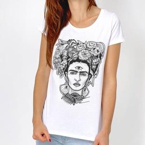 Frida Kahlo grafikás póló, Fridás egyedi férfi és női póló, póló egyedi illusztrációval, hipster póló (EVYapparel) - Meska.hu