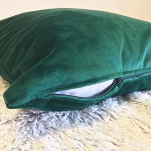 Méregzöld bársony párna, Elegáns klasszikus sötétzöldbársony, elegáns sötétzöld díszpárna, huzat + belső párna (EVYHomeDecor) - Meska.hu
