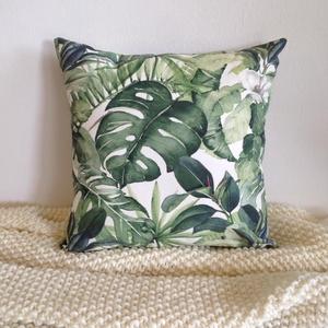 Trópusi, pálmaleveles díszpárnahuzat, kerti dekorpárna, huzat+belső párna (EVYHomeDecor) - Meska.hu