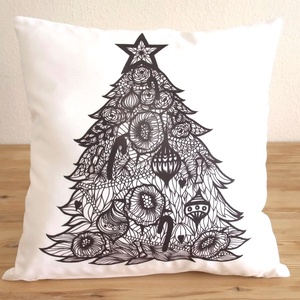 Karácsonyfa mintás díszpárna, karácsonyi dekor párna (huzat+belső párna) (EVYHomeDecor) - Meska.hu