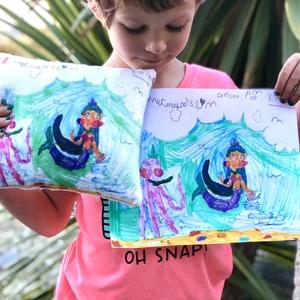 Fényképes, rajzos egyedi díszpárna saját rajzzal, Gyerekrajzos párna, vagy képpel! Párnahuzat + belső (EVYHomeDecor) - Meska.hu