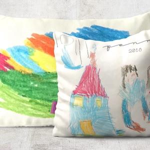 Egyedi rajzos dekorpárna a saját gyerkőcöd vagy a te rajzoddal nyomtatva, díszpárna, egyedi ajándék, Párnahuzat + belső, Párna & Párnahuzat, Lakástextil, Otthon & Lakás, Varrás, Festészet, EGYEDI DÍSZPÁRNA, saját vagy gyermek rajzávak nyomtatva\n\nAkár a gyerkőcöd lepnéd meg a legszebb alko..., Meska