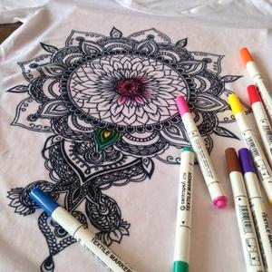 Színezhető póló egyedi grafikával, kifestős póló napraforgó mandalával (EVYHomeDecor) - Meska.hu