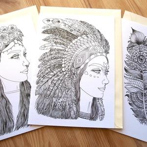 Színezhető képeslap szett (3db-os), Lányos hippi és indiánlány mintával kifestő lap csomag, képeslap, színezős képeslap, Játék & Gyerek, Készségfejlesztő & Logikai játék, Papírművészet, Fotó, grafika, rajz, illusztráció, SZÍNEZHETŐ KÉPESLAP-SZETT EGYEDI INDIÁNOS GRAFIKÁVAL (3db-os)\n\nEbben a csomagban 3 db kinyitható, gy..., Meska