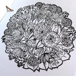 Nyomtatható színező lap, Virág mandala letölthető kifestő lap, képeslap, színező lap, kifestő, digitális PDF, Jpeg, Gyerek & játék, Játék, Készségfejlesztő játék, Papírművészet, Fotó, grafika, rajz, illusztráció, Ez a digitális, letölthető és otthon nyomtatható színező minta egy általam kézzel rajzolt színezőkön..., Meska