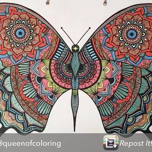 Nyomtatható színező lap, Pillangós mandala letölthető kifestő lap, képeslap, színező lap, kifestő, digitális PDF, Jpeg, Gyerek & játék, Játék, Készségfejlesztő játék, Papírművészet, Fotó, grafika, rajz, illusztráció, Ez a digitális, letölthető és otthon nyomtatható színező minta egy általam kézzel rajzolt színezőkön..., Meska