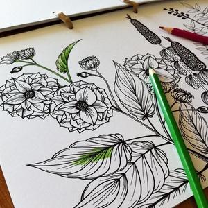 Nyomtatható színező lap, Virágoskert letölthető kifestő lap, képeslap, színező lap, kifestő, digitális PDF, Jpeg, Gyerek & játék, Játék, Készségfejlesztő játék, Papírművészet, Fotó, grafika, rajz, illusztráció, Ez a digitális, letölthető és otthon nyomtatható színező minta egy általam kézzel rajzolt színezőkön..., Meska