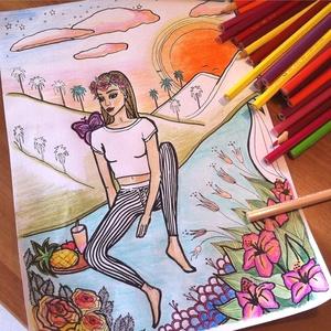 Nyomtatható színező lap, Coachella Fesztivál letölthető kifestő lap, képeslap, színező lap, kifestő, digitális PDF, Jpeg, Gyerek & játék, Játék, Készségfejlesztő játék, Papírművészet, Fotó, grafika, rajz, illusztráció, Ez a digitális, letölthető és otthon nyomtatható színező egy általam kézzel rajzolt színezőkönyvem e..., Meska
