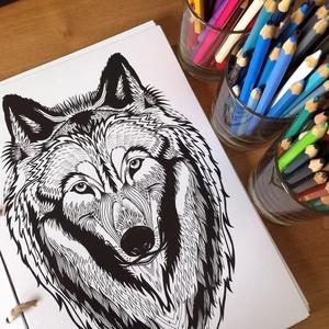 Nyomtatható színező lap, Farkas grafika letölthető kifestő lap, képeslap, színező lap, kifestő, digitális PDF, Jpeg, Gyerek & játék, Játék, Készségfejlesztő játék, Papírművészet, Fotó, grafika, rajz, illusztráció, Ez a digitális, letölthető és otthon nyomtatható színező minta egy általam kézzel rajzolt színezőkön..., Meska