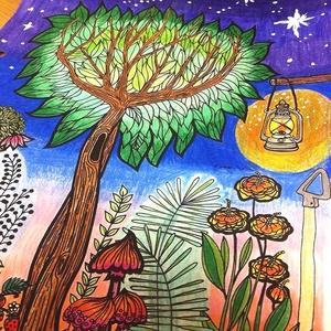 Nyomtatható színező lap, kertes kifestő lap, képeslap, színező lap, mandalás virágos kifestő, digitális PDF, Jpeg, Gyerek & játék, Játék, Készségfejlesztő játék, Papírművészet, Fotó, grafika, rajz, illusztráció, Ez a digitális, letölthető és otthon nyomtatható színező minta egy általam kézzel rajzolt színezőkön..., Meska