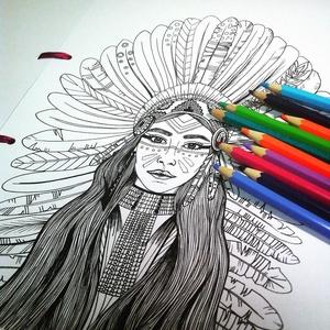 Nyomtatható színező lap, INDIÁNLÁNY letölthető kifestő lap, képeslap, színező lap, kifestő, digitális PDF, Jpeg, Gyerek & játék, Játék, Készségfejlesztő játék, Papírművészet, Fotó, grafika, rajz, illusztráció, Ez a digitális, letölthető és otthon nyomtatható színező egy általam kézzel rajzolt színezőkönyvem e..., Meska