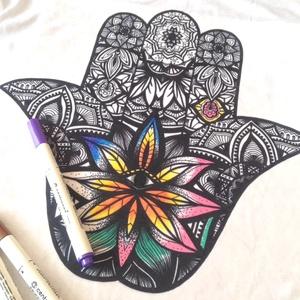 Színezhető párna Hamsa mandala mintával, kifestős dekorpárna,huzat + belső párna  (EVYHomeDecor) - Meska.hu