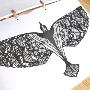 Nyomtatható színező lap, Mandala sas madár letölthető kifestő lap, képeslap, színező lap, kifestő, digitális PDF, Jpeg, Gyerek & játék, Játék, Készségfejlesztő játék, Papírművészet, Fotó, grafika, rajz, illusztráció, Ez a digitális, letölthető és otthon nyomtatható színező egy általam kézzel rajzolt színezőkönyvem e..., Meska