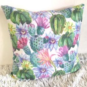 Kaktuszos-virágos mintás díszpárna, Színes kaktuszvirágos trópusi díszpárna,kerti díszpárna, Otthon & lakás, Lakberendezés, Lakástextil, Párna, Varrás, TERMÉKLEÍRÁS:\nLevehető huzat + prémium belső párna\n• méretek: 30x30cm, 30x50cm, 40x40cm,45 x 45cm, b..., Meska