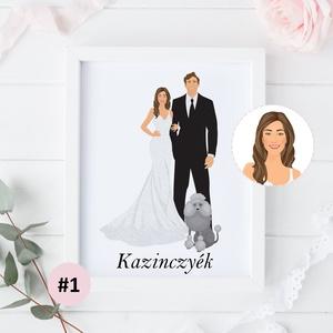 Egyedi esküvői portré rajz készítése, egyedi rajz, szabadkézi illusztráció, grafikai-tervezési díj, Esküvő, Esküvői dekoráció, Nászajándék, Fotó, grafika, rajz, illusztráció, Saját, egyedi fénykép alapján elkészítjük Neked a kívánt grafikát (a képeken látható stílusban), a r..., Meska