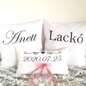 Egyedi esküvő párna szett dátummal és nevekkel vagy Mr. és Mrs. nászajándék,esküvői ajándék díszpárnahuzat + belső párna, Esküvő, Otthon & lakás, Esküvői dekoráció, Nászajándék, ESKÜVŐI DEKOR PÁRNA SZETT (az ár 3db-ra vonatkozik)  Egyedi felirattal - nevekkel és dátummal vagy b..., Meska