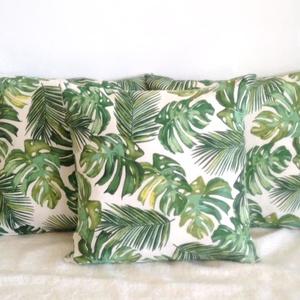 Pálmás dzsungel mintájú trópusi díszpárna, pálmaleveles trópusi díszpárna, dzsungeles díszpárna, huzat + belső párna (EVYHomeDecor) - Meska.hu