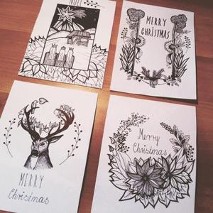 Karácsonyi képeslap-szett (4db-os) Betlehemi grafikával, Kinyitható képeslapok, Karácsonyi kézműves üdvözlőlap, Otthon & Lakás, Karácsony & Mikulás, Karácsonyi képeslap, Fotó, grafika, rajz, illusztráció, Ebben a csomagban 4 db kinyitható, gyöngyház fényű dekorpapírból készült és egyedi, kézzel rajzolt g..., Meska
