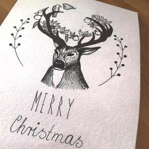 Szarvasos karácsonyi kézműves üdvözlőlap, Kinyitható lap, Virágos szarvas mintás képeslap borítékkal karácsoyi üdvözlet, Otthon & Lakás, Karácsony & Mikulás, Karácsonyi képeslap, Fotó, grafika, rajz, illusztráció, Ez egy kinyitható üdvözlőlap, gyöngyház fényű dekorpapírból és egyedi, kézzel rajzolt grafikával nyo..., Meska