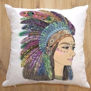 Színezhető dekorpárna, Sminkelhető Indiánlány grafikás párna, Lányos ajándékcsomag gyerekszoba dekor, huzat+belső párna (EVYHomeDecor) - Meska.hu