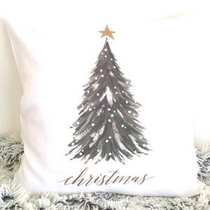 Fenyőfa mintás karácsonyi díszpárna Christmas felirattal, vintage stílusú mintával, huzat + belső párna, Párna & Párnahuzat, Lakástextil, Otthon & Lakás, Varrás, Festészet, ELKÉSZÍTÉS & SZÁLLÍTÁS:\nNormál elkészítési idő: 3-4 munkanap (+szállítási idő)\nSürgősségi elkészítés..., Meska