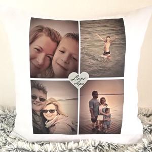 Fényképes kollázs egyedi emlék párna saját fotóval és felirattal, pároknak, Családi ajándék, Nagyinak, Anyának, Apának, Otthon & Lakás, Lakástextil, Párna & Párnahuzat, Varrás, Festészet, Meska