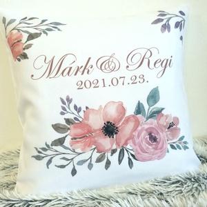Nászajándék egyedi esküvői párna névvel és dátummal, Pénzátadó nászajándék párna, esküvői ajándék, huzat+belső - Meska.hu