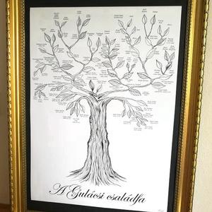 Családfa egyedileg készítve, nevekkel és dátumokkal,Személyre szóló, egyedi ajándék szülőknek, nagyszülőknek évfordulóra - esküvő - emlék & ajándék - szülőköszöntő ajándék - Meska.hu