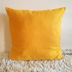 Mustársárga díszpárna, vastag dekorvászon díszpárna kanapéra, huzat + belső párna - Meska.hu