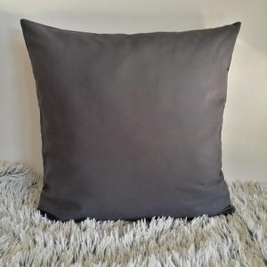 Sötétszürke díszpárna, vastag dekorvászon díszpárna kanapéra, huzat + belső párna - Meska.hu