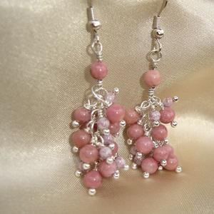 Rózsaszín rhodonit fürtös fülbevaló (ExerM) - Meska.hu