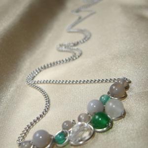 Szürke-zöld statement nyaklánc ásványokkal (ExerM) - Meska.hu
