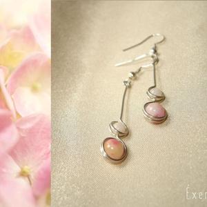 Jáde-angelit duo fülbevaló, Ékszer, Fülbevaló, 6 mm-es rózsaszínes bosi jádéval és 4 mm-es fehér angelittel díszített ásvány duo fülbevaló. Hossza ..., Meska