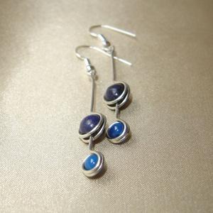 Kék lápisz és achát hosszú duo ásvány fülbeavló, Ékszer, Fülbevaló, 6 mm-es kék lápisz és 4 mm-es achát ásvány gyöngyök felhasználásával készített hosszú fülbevaló. Hos..., Meska