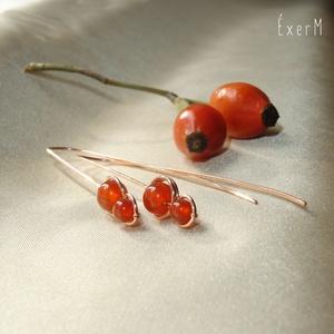 Narancs karneol duo fülbevaló, ásvány, vörösréz (ExerM) - Meska.hu