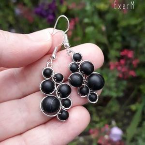 Black grapes ásvány fürt fülbevaló - Meska.hu