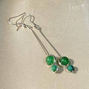 Zöld hosszú duo fülbevaló, Ékszer, Lógó fülbevaló, Fülbevaló, Ékszerkészítés, Fémmegmunkálás, Meska