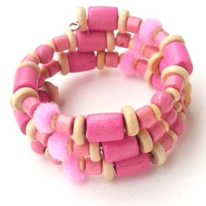 Rózsaszín álom karkötő, Ékszer, Karkötő, A memória karkötő alapra rózsaszín és natúr színű fagyöngyöket, valamint rózsaszínű pompom-ot fűztem..., Meska