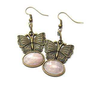 Szeretet rózsa-pillangó fülbevaló, Ékszer, Fülbevaló, A fülbevalók bronz alapra akasztott pillangóból készültek, melyekre rózsakvarc kabosonokat ragasztot..., Meska