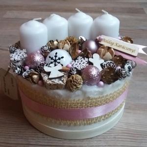 Adventi box, PINK WINTER Karácsonyi asztaldísz, doboz, Otthon & Lakás, Karácsony & Mikulás, Adventi koszorú, Virágkötés, Havas - pinkes hangulatban készítettem a díszt.\nHogy a Karácsonyba is becsempésszük a rózsaszint :-)..., Meska