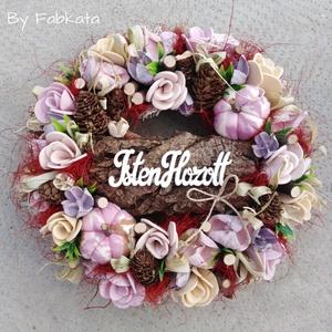 Tökös virágos őszi ajtódísz 24 cm kopogtató , Otthon & lakás, Dekoráció, Lakberendezés, Ajtódísz, kopogtató, Virágkötés, Egyedi színes őszi dekoráció. \n\nEgy szalmaalapot bevontam, majd saját gumivirágokkal, termésekkel, k..., Meska