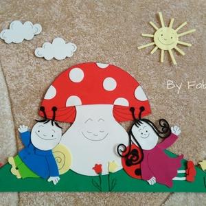 Gyerekszoba dekoráció dekorgumiból falmatrica gomba, Gyerek & játék, Gyerekszoba, Baba falikép, Otthon & lakás, Dekoráció, Falmatrica, Mindenmás, Papírművészet, Dekorgumiból készitem a figurát, kartonra vannak felragasztva. Hátoldalon kétoldalú ragasztóval vann..., Meska