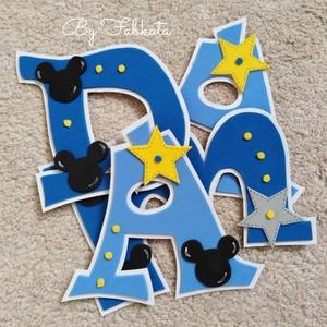Mickey stílúsú falmatrica babanév egér betű , Falmatrica & Tapéta, Dekoráció, Otthon & Lakás, Virágkötés, Mindenmás, Rendelésre készült, de ha neked is megtetszett szivesen elkészitem a figurát bármelyik névvel hozzá ..., Meska