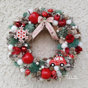 Piros Karácsonyi, adventi, téli ajtódísz kopogtató 24cm koszorú , Otthon & Lakás, Karácsony & Mikulás, Karácsonyi kopogtató, Virágkötés, Egyedi gazdagon díszített ajtódísz, mely a téli hangulat jegyében készült!\nEgy szalmaalapot bevontam..., Meska