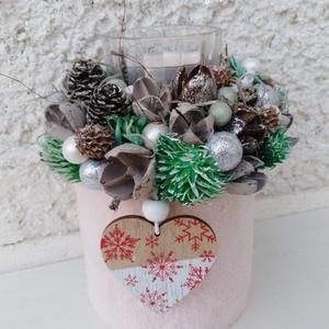 Ünnepváró téli karácsonyi illatos dobozkák , Otthon & Lakás, Karácsony & Mikulás, Karácsonyi dekoráció, Kisméretű dobozt vontam be puha anyaggal, majd mécsestartót és illatos mécsest helyeztem el rajta. K..., Meska