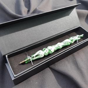 Üveg toll. Zöld-fehér márvány minta., Ceruza & Toll, Papír írószer, Otthon & Lakás, Üvegművészet, Kiváló minőségű matt fehér és áttetsző zöld üveg alapanyagból saját technikával készítettem ezt a na..., Meska