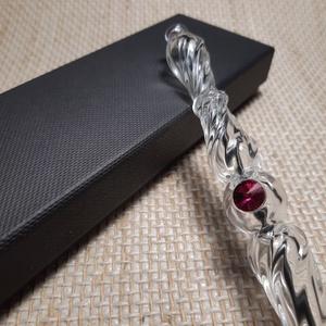 Üveg toll - Swarovski Fuchsia, Otthon & Lakás, Papír írószer, Ceruza & Toll, Üvegművészet, Áttetsző bordázott alapanyagból készített, csavart mintás, kis méretű elegáns üveg toll. Egy darab S..., Meska