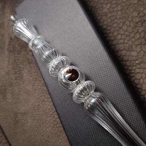 Üveg toll - Swarovski Smoked Topaz, Otthon & Lakás, Papír írószer, Ceruza & Toll, Üvegművészet, Áttetsző bordázott alapanyagból készített, párhuzamos mintás, kis méretű elegáns üveg toll. Egy dara..., Meska