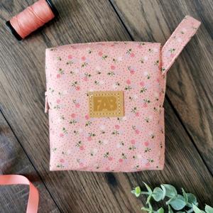 Rózsaszín virágos - neszesszer, tároló, tok, kis táska, rendszerező - Meska.hu