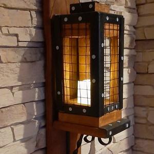 Rusztikus fali lámpás, gyertyatartó, mécsestartó, Otthon & lakás, Bútor, Polc, Dekoráció, Lakberendezés, Gyertya, mécses, gyertyatartó, Fémmegmunkálás, Famegmunkálás, Új, kézműves rusztikus lámpás, gyertyatartó eladó. 2 az 1-ben. A lámpás levehető, így kapunk egy lám..., Meska